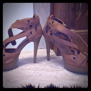 Liliana Strappy Leather High Heels, Size 7.5